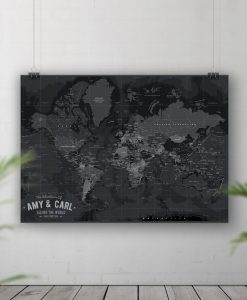 Black Tone Push Pin Board Map