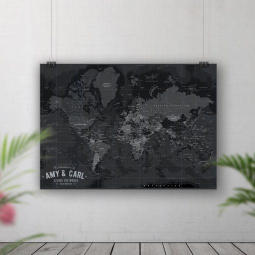 Black Tone Push Pin Board Map