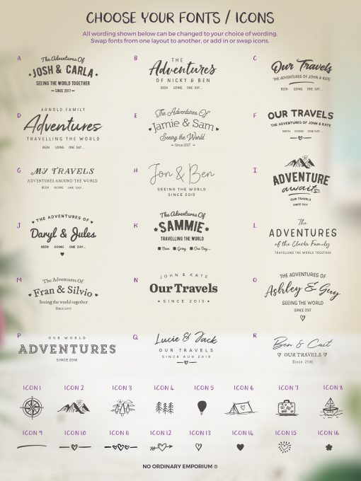 Choose the fonts for your push pin board map