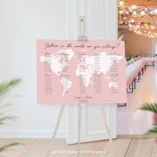 Travel Theme Table Plan Board Pink
