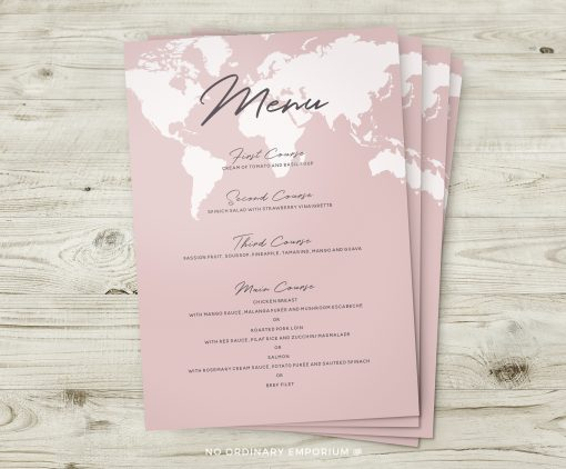 Travel Theme Menus Pink