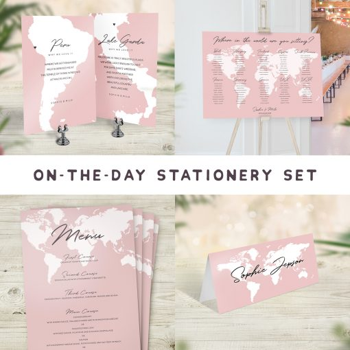 Travel Theme On The Day Wedding Stationery Set Pink