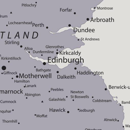 Grey UK Pin Board Map