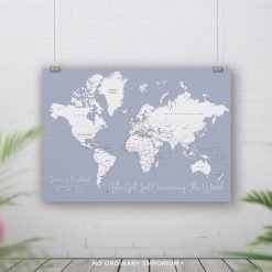 Steel Blue Grey Push pin board map