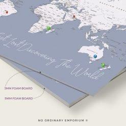 Steel Blue Grey Push pin board map