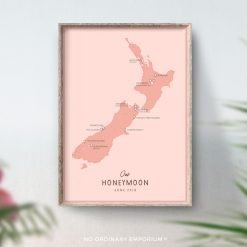 New Zealand Honeymoon Map Gift