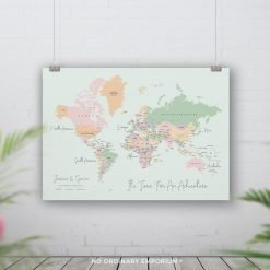 Pastel Green Push pin world map