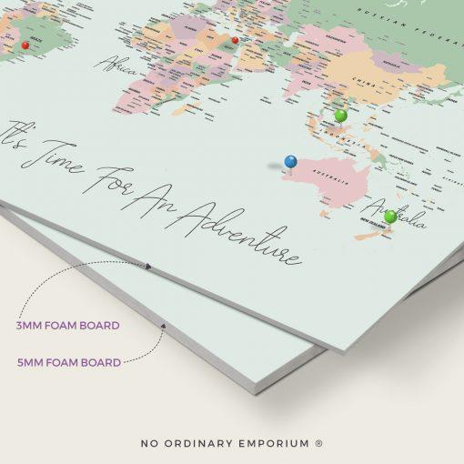 Pastel Green Push pin world map