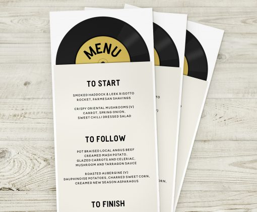 Music Themed Wedding Menus