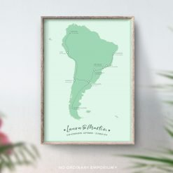 South America Honeymoon Map Gift
