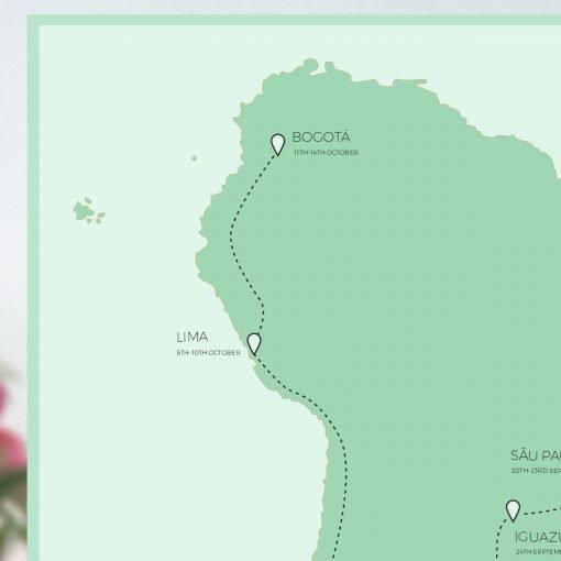 South America Honeymoon Map Gift