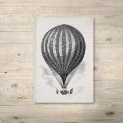 Vintage Hot Air Balloon Illustration Notebook Journal
