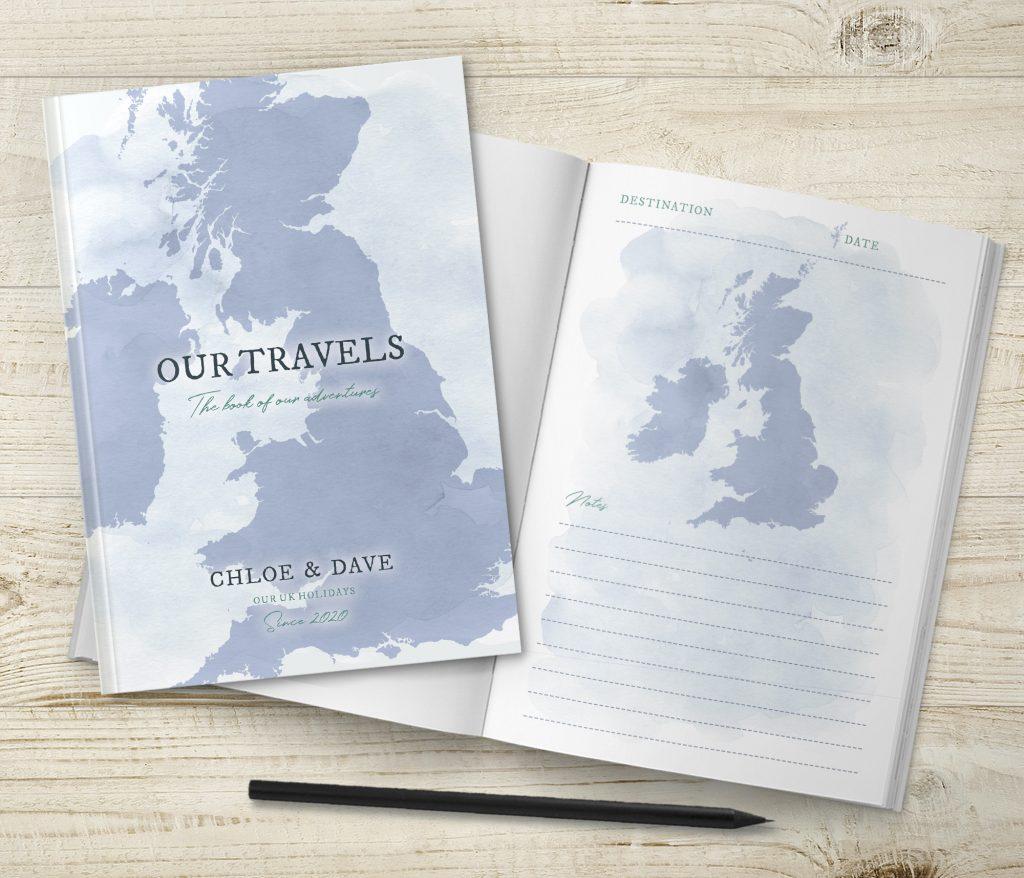 Blue Watercolour UK Travel Journal