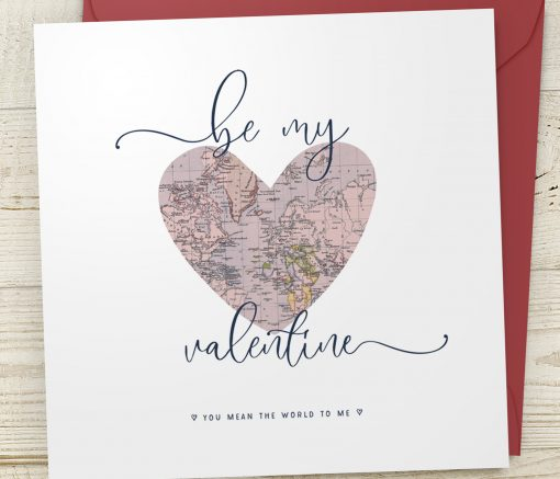 Be My Valentine Map Heart Card