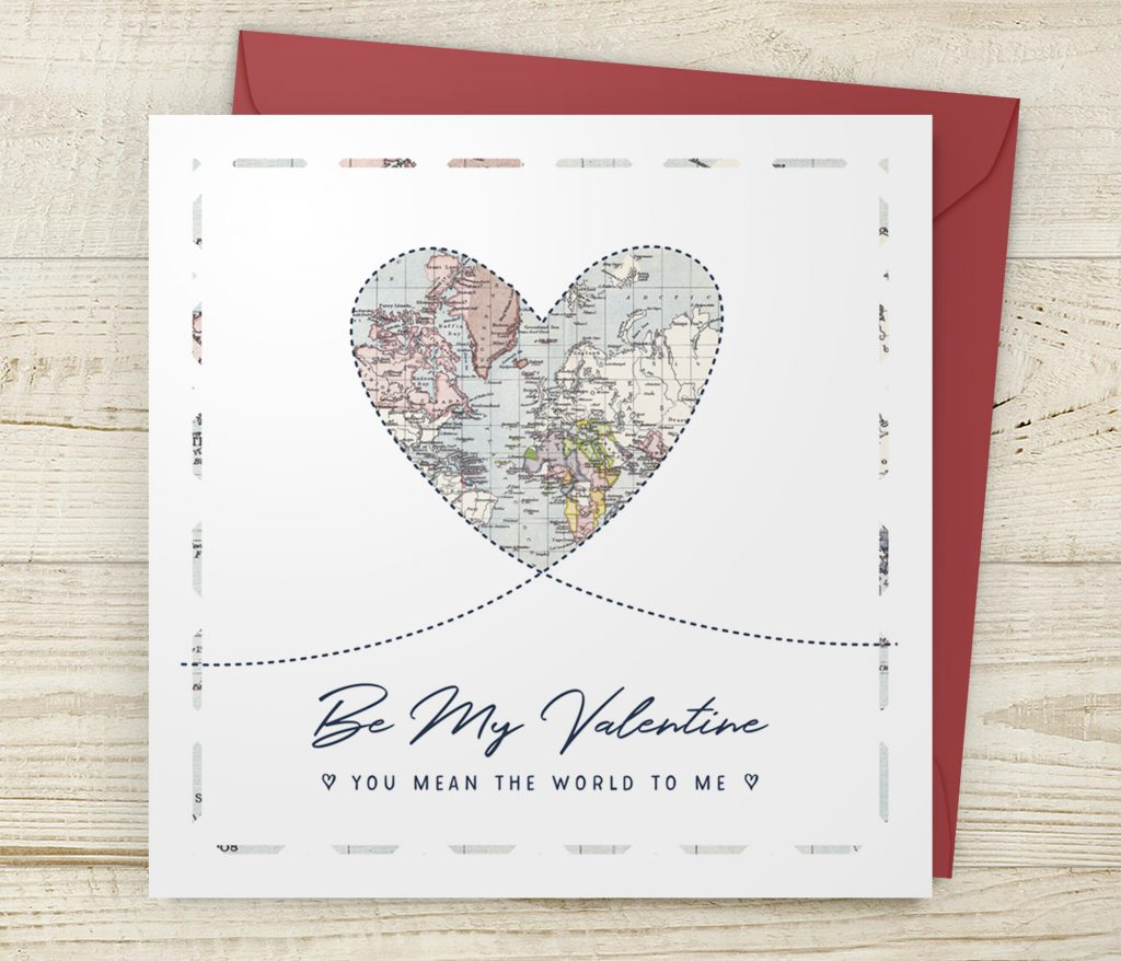 Be My Valentine Heart Map Card