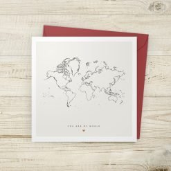 You Are My World Minimal Map Valentine's Card
