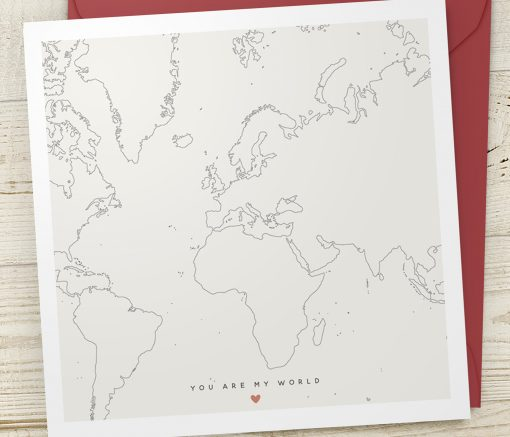 Valentine's You Are My World Map Card