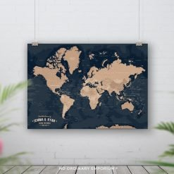 Navy Beige Push Pin World Map