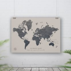 Inky Dark Grey Beige Pin Board Map