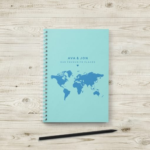 Personalised Travel JournalPersonalised Travel Journal with World Maps and Notes Section