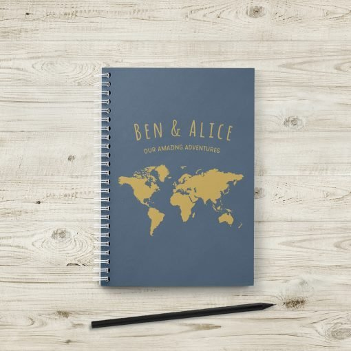 Personalised Travel Journal with World Maps and Notes Section
