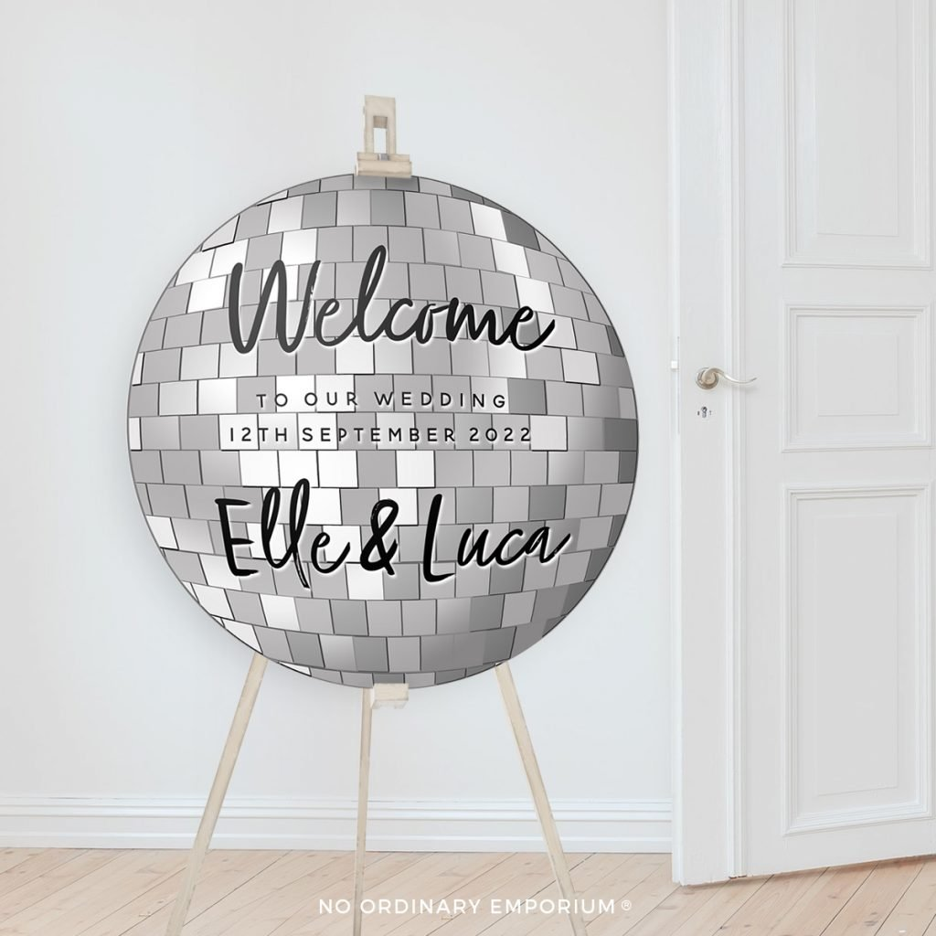 Disco Ball Welcome Party Sign