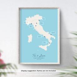 Italy Honeymoon Gift - Travel memory map