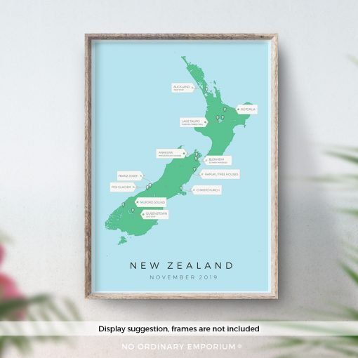 New Zealand Travel Map Gift