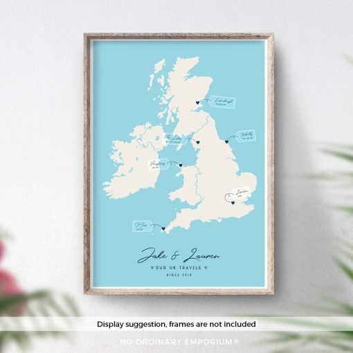 Personalised Custom UK Road Trip Map